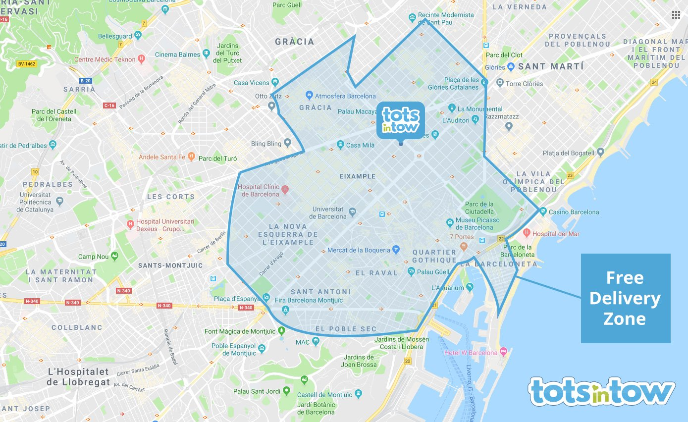 Barcelona free delivery zone map